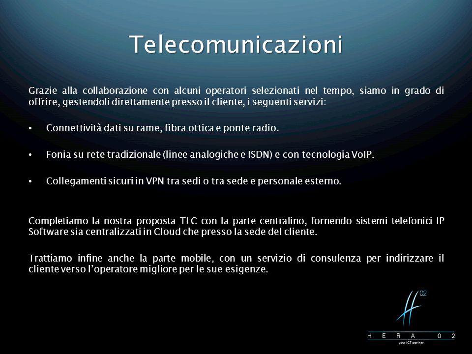 Telecomunicazioni Grazie alla collaborazione con alcuni operatori selezionati nel tempo, siamo in grado di offrire, gestendoli direttamente presso il cliente, i seguenti servizi: Connettività dati su rame, fibra ottica e ponte radio.