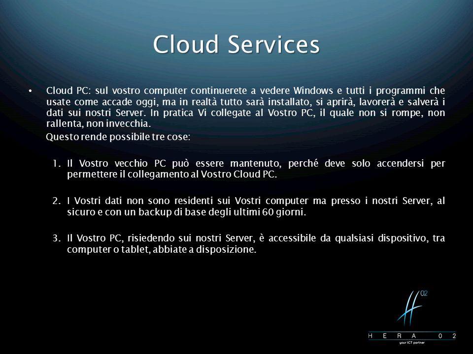 Cloud Services Cloud PC: sul vostro computer continuerete a vedere Windows e tutti i programmi che usate come accade oggi, ma in realtà tutto sarà installato, si aprirà, lavorerà e salverà i dati sui nostri Server.