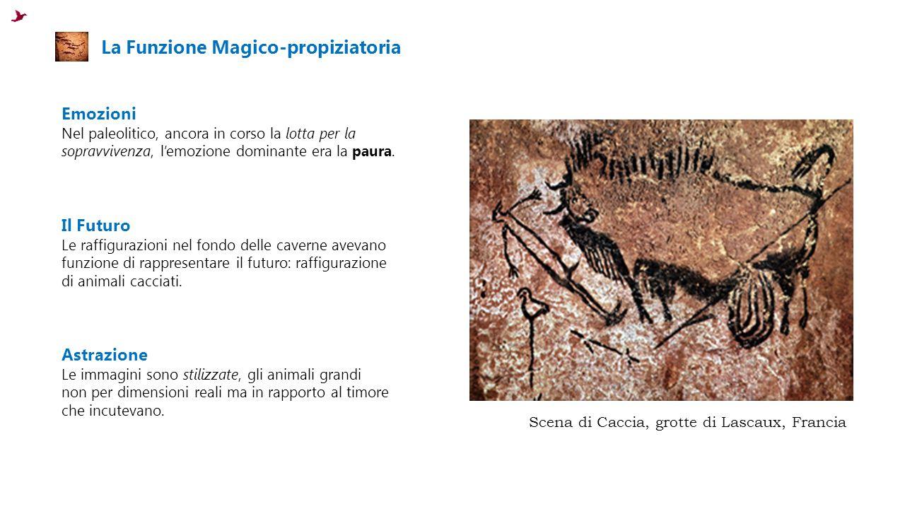 La Funzione Magico-propiziatoria Emozioni Nel paleolitico, ancora in corso la lotta per la sopravvivenza, l'emozione dominante era la paura.