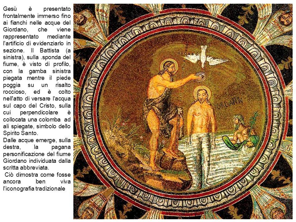 Gesù è presentato frontalmente immerso fino ai fianchi nelle acque del Giordano, che viene rappresentato mediante l'artificio di evidenziarlo in sezio