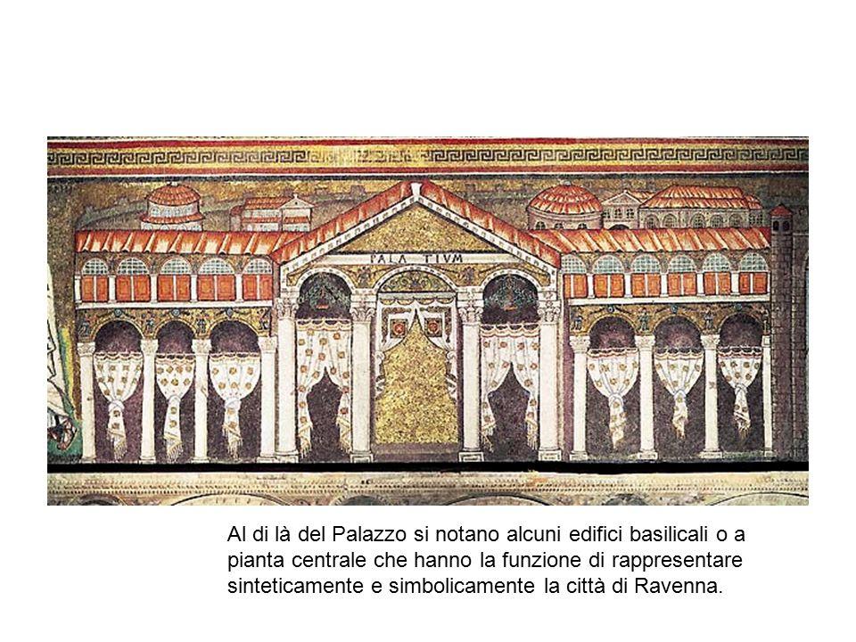 Al di là del Palazzo si notano alcuni edifici basilicali o a pianta centrale che hanno la funzione di rappresentare sinteticamente e simbolicamente la