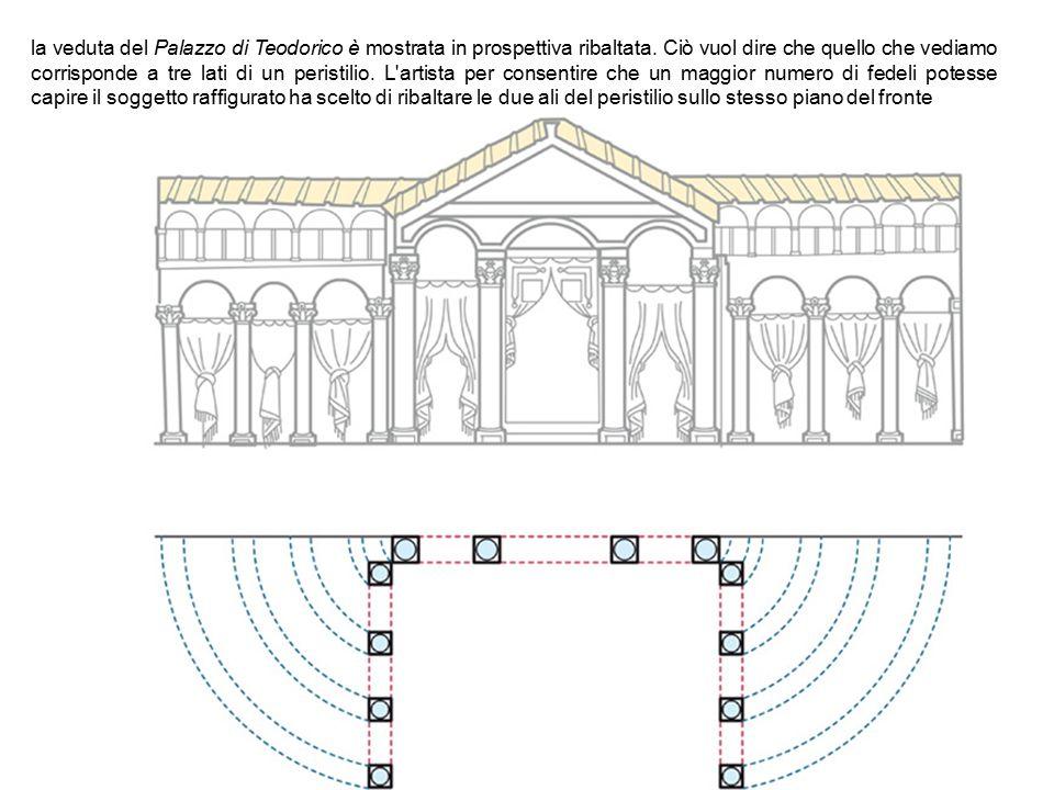 la veduta del Palazzo di Teodorico è mostrata in prospettiva ribaltata. Ciò vuol dire che quello che vediamo corrisponde a tre lati di un peristilio.