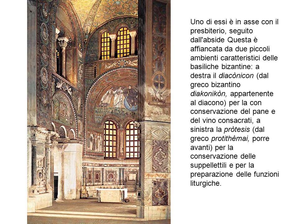 Uno di essi è in asse con il presbiterio, seguito dall'abside Questa è affiancata da due piccoli ambienti caratteristici delle basiliche bizantine: a