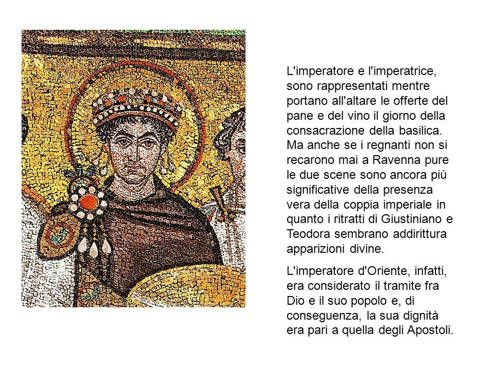 L'imperatore e l'imperatrice, sono rappresentati mentre portano all'altare le offerte del pane e del vino il giorno della consacrazione della basilica