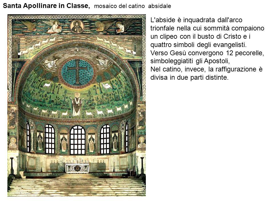 Santa Apollinare in Classe, mosaico del catino absidale L'abside è inquadrata dall'arco trionfale nella cui sommità compaiono un clipeo con il busto d