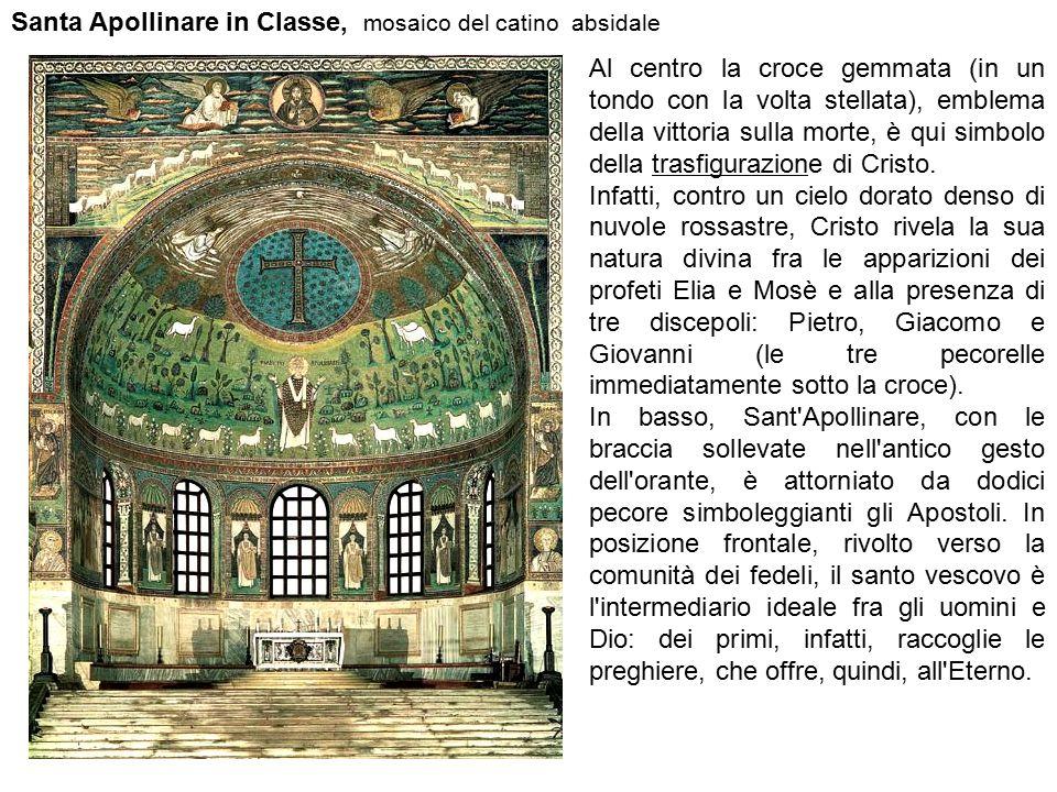 Santa Apollinare in Classe, mosaico del catino absidale Al centro la croce gemmata (in un tondo con la volta stellata), emblema della vittoria sulla m