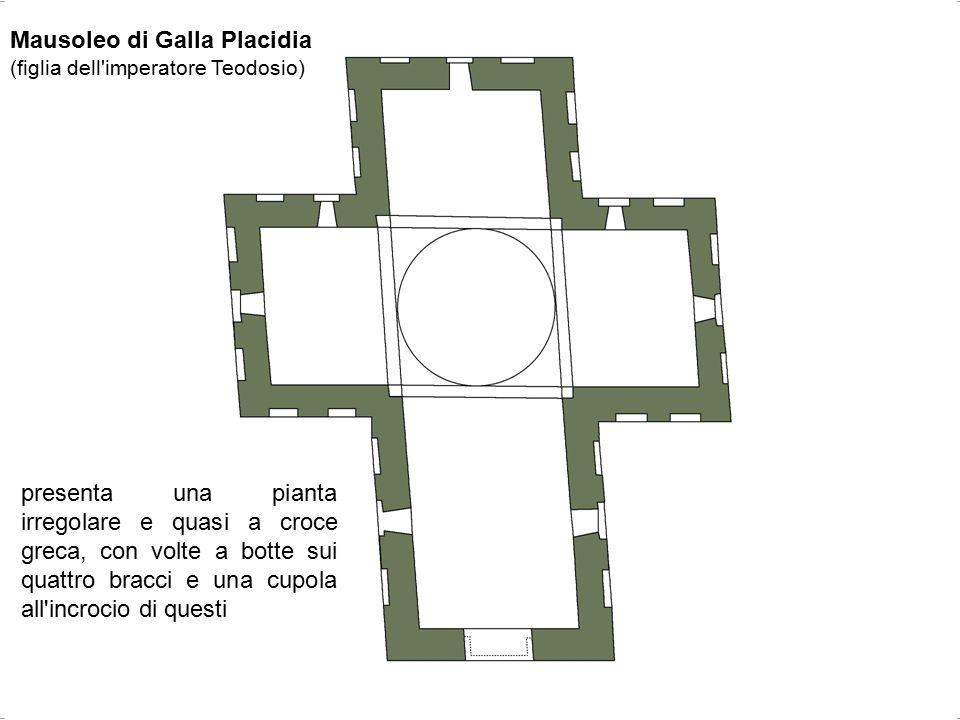 Mausoleo di Galla Placidia (figlia dell'imperatore Teodosio) presenta una pianta irregolare e quasi a croce greca, con volte a botte sui quattro bracc
