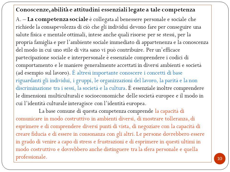 10 Conoscenze, abilità e attitudini essenziali legate a tale competenza A. – La competenza sociale è collegata al benessere personale e sociale che ri