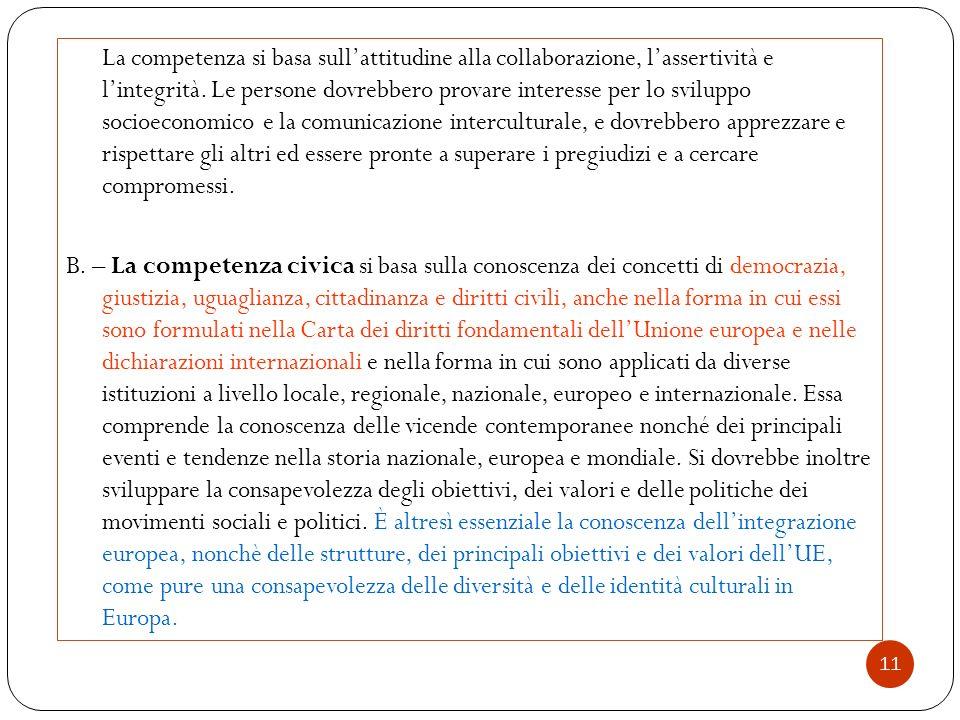 11 La competenza si basa sull'attitudine alla collaborazione, l'assertività e l'integrità. Le persone dovrebbero provare interesse per lo sviluppo soc