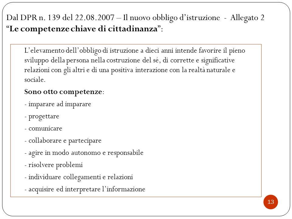 """13 Dal DPR n. 139 del 22.08.2007 – Il nuovo obbligo d'istruzione - Allegato 2 """"Le competenze chiave di cittadinanza"""": L'elevamento dell'obbligo di ist"""