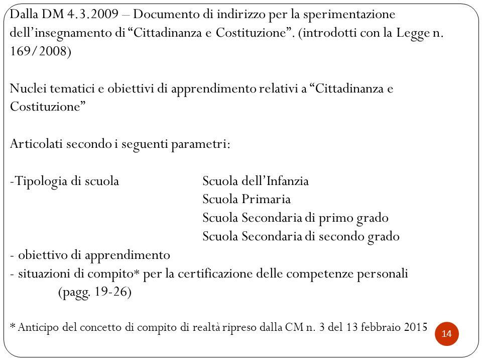 """14 Dalla DM 4.3.2009 – Documento di indirizzo per la sperimentazione dell'insegnamento di """"Cittadinanza e Costituzione"""". (introdotti con la Legge n. 1"""