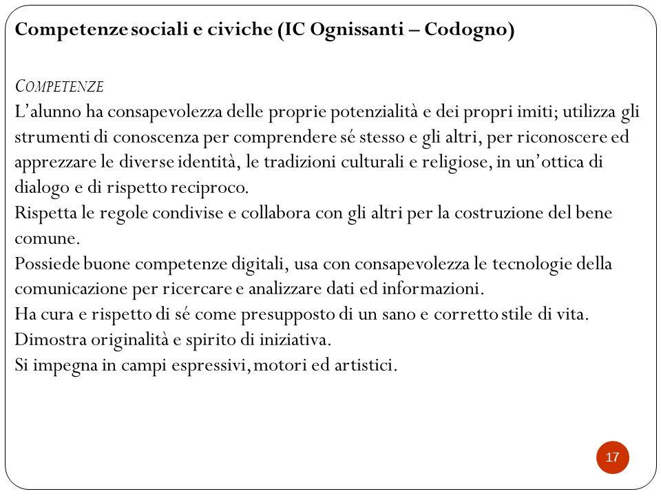17 Competenze sociali e civiche (IC Ognissanti – Codogno) C OMPETENZE L'alunno ha consapevolezza delle proprie potenzialità e dei propri imiti; utiliz