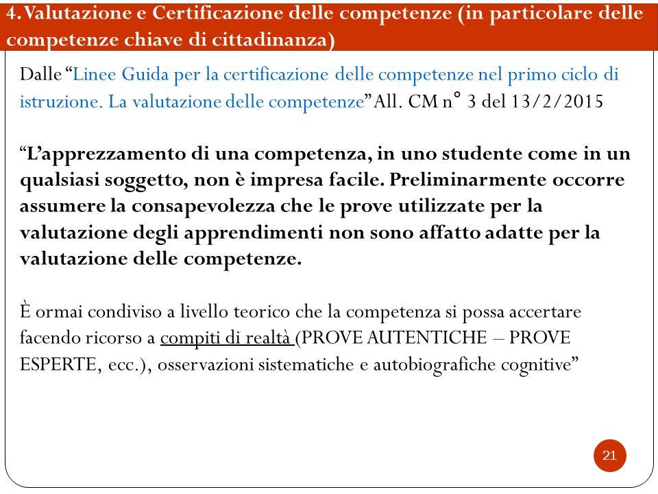 """21 4. Valutazione e Certificazione delle competenze (in particolare delle competenze chiave di cittadinanza) Dalle """"Linee Guida per la certificazione"""