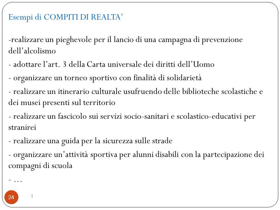 1 24 Esempi di COMPITI DI REALTA' -realizzare un pieghevole per il lancio di una campagna di prevenzione dell'alcolismo - adottare l'art. 3 della Cart