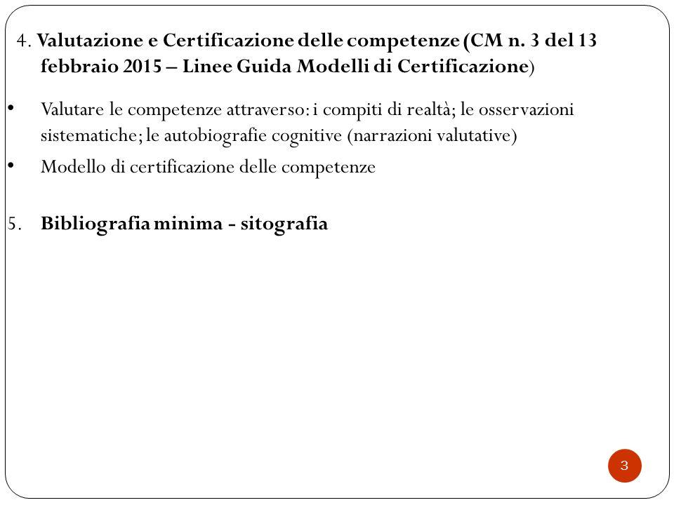 3 4. Valutazione e Certificazione delle competenze (CM n. 3 del 13 febbraio 2015 – Linee Guida Modelli di Certificazione) Valutare le competenze attra