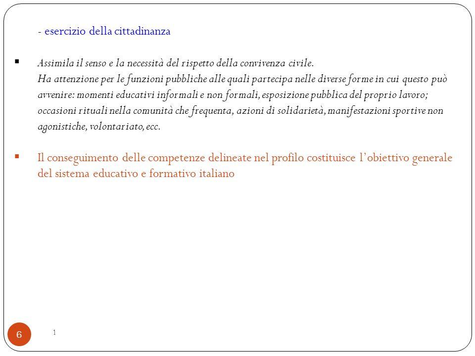 1 6 - esercizio della cittadinanza  Assimila il senso e la necessità del rispetto della convivenza civile.