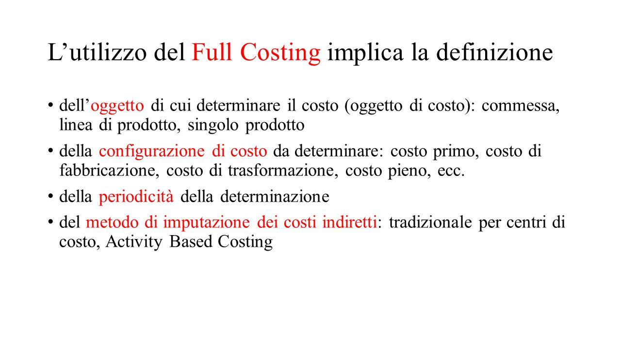 L'utilizzo del Full Costing implica la definizione dell'oggetto di cui determinare il costo (oggetto di costo): commessa, linea di prodotto, singolo p
