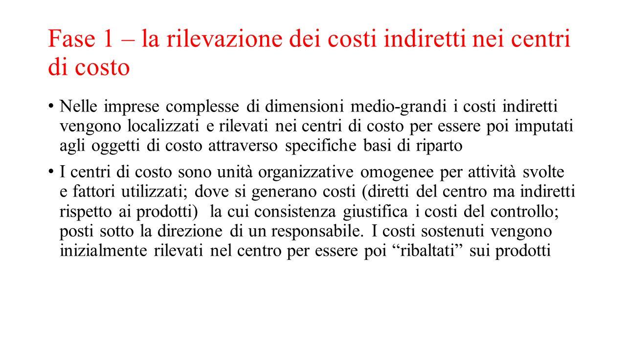 Fase 1 – la rilevazione dei costi indiretti nei centri di costo Nelle imprese complesse di dimensioni medio-grandi i costi indiretti vengono localizza