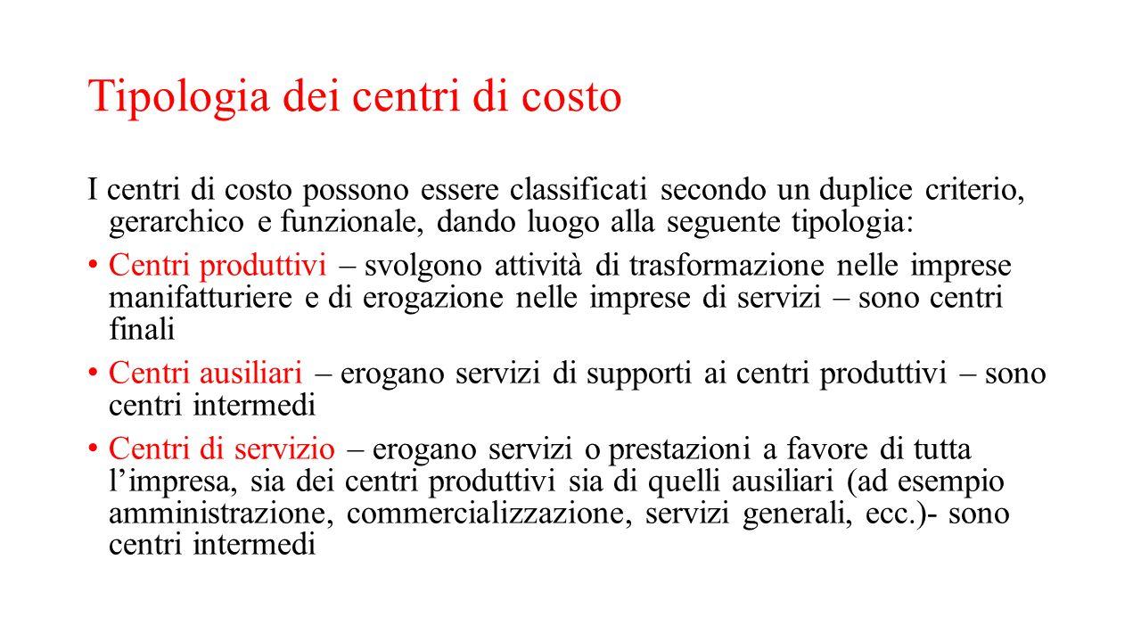 Tipologia dei centri di costo I centri di costo possono essere classificati secondo un duplice criterio, gerarchico e funzionale, dando luogo alla seg