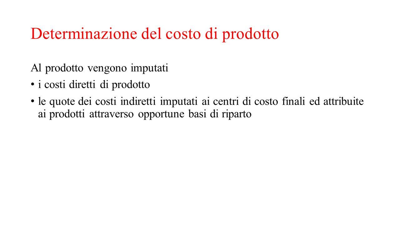 Determinazione del costo di prodotto Al prodotto vengono imputati i costi diretti di prodotto le quote dei costi indiretti imputati ai centri di costo