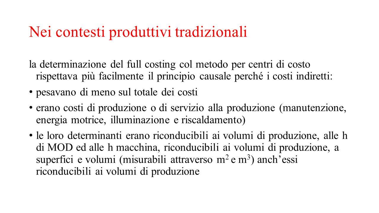 Nei contesti produttivi tradizionali la determinazione del full costing col metodo per centri di costo rispettava più facilmente il principio causale