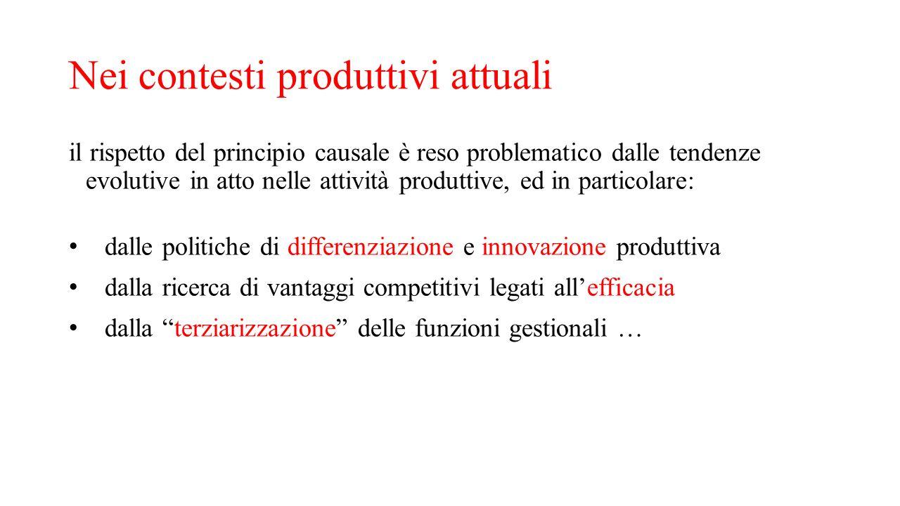 Nei contesti produttivi attuali il rispetto del principio causale è reso problematico dalle tendenze evolutive in atto nelle attività produttive, ed i