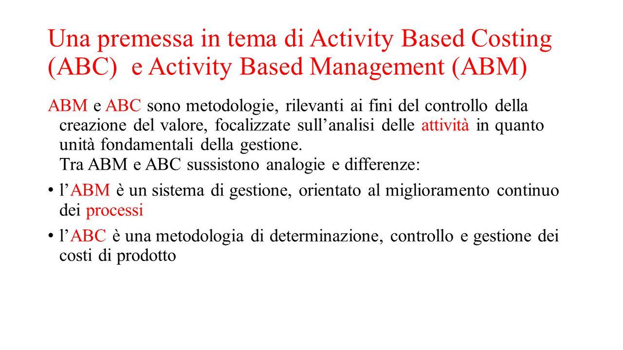 Una premessa in tema di Activity Based Costing (ABC) e Activity Based Management (ABM) ABM e ABC sono metodologie, rilevanti ai fini del controllo del