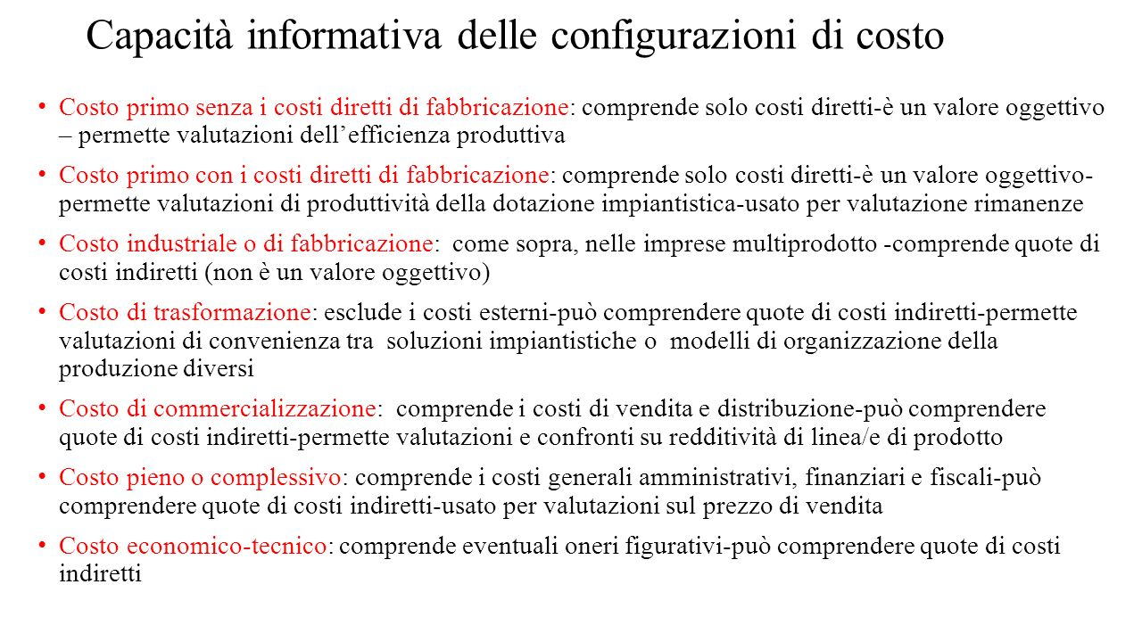 La struttura del costo di prodotto col metodo tradizionale CdC e con l'ABC CdC : mp +mod +costi centro a +costi centro b +...