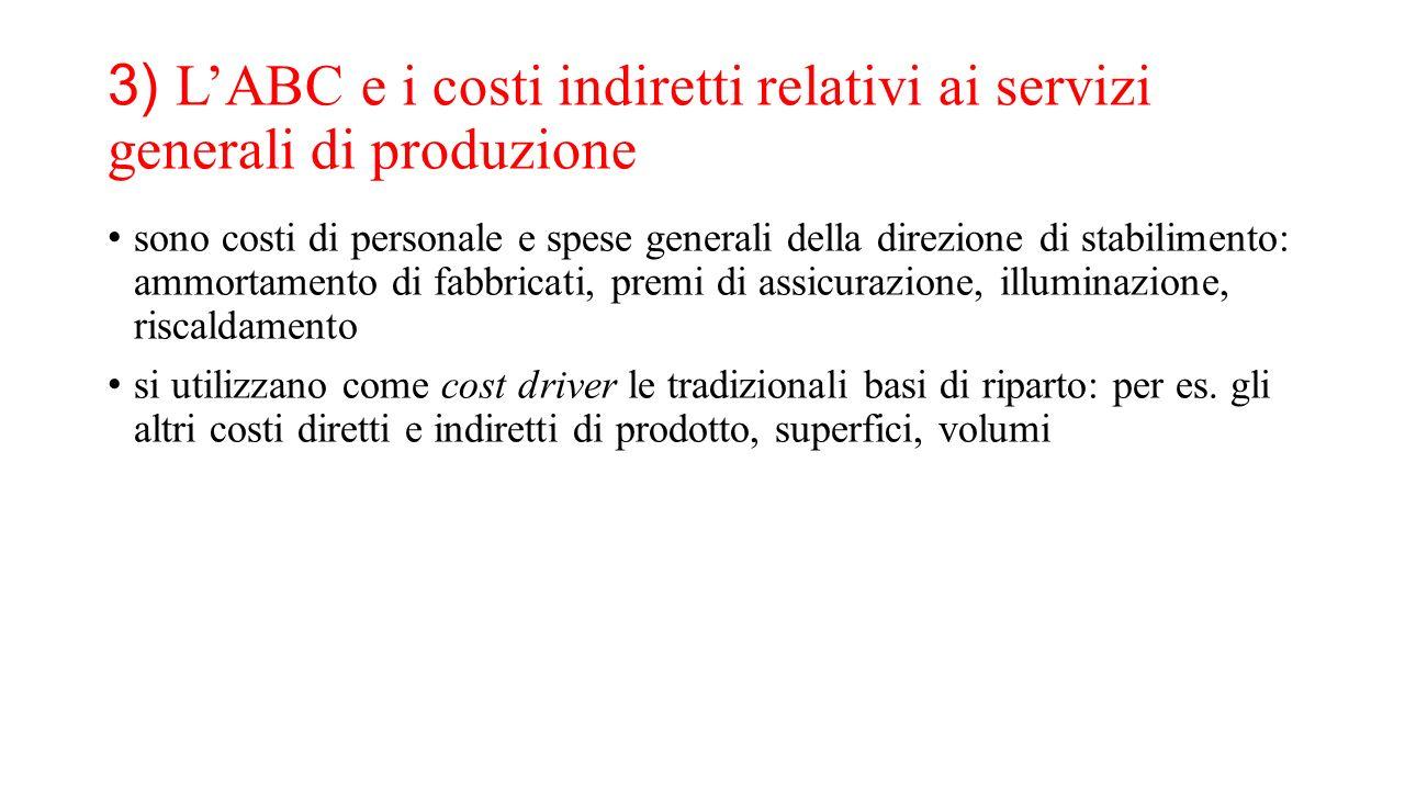 3) L'ABC e i costi indiretti relativi ai servizi generali di produzione sono costi di personale e spese generali della direzione di stabilimento: ammo