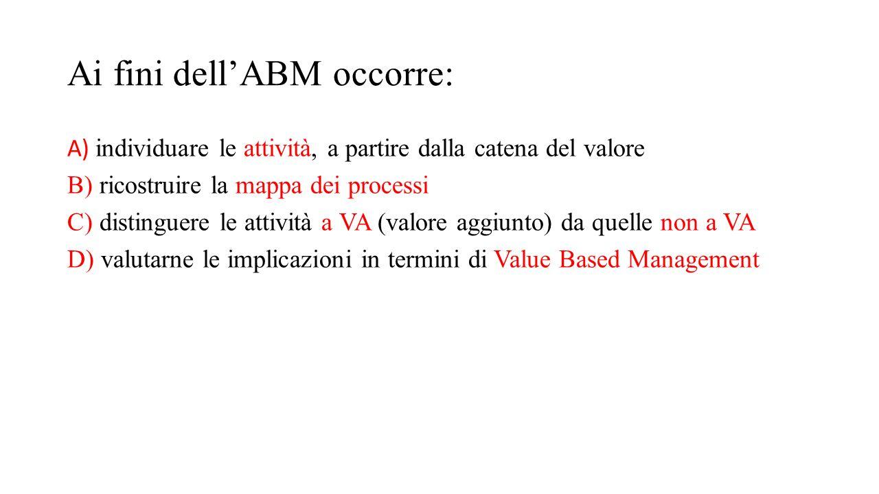 Ai fini dell'ABM occorre: A) individuare le attività, a partire dalla catena del valore B) ricostruire la mappa dei processi C) distinguere le attivit