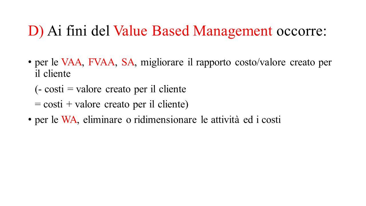 D) Ai fini del Value Based Management occorre: per le VAA, FVAA, SA, migliorare il rapporto costo/valore creato per il cliente (- costi = valore creat