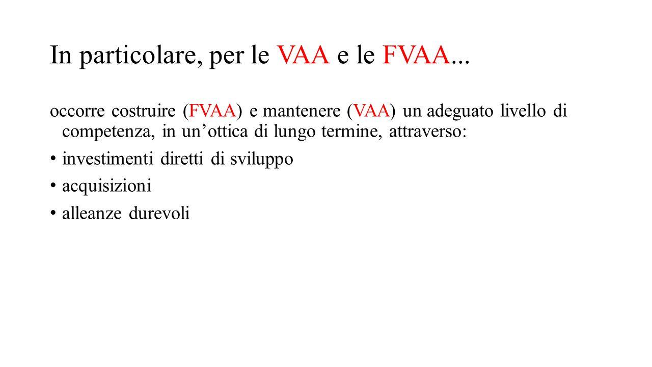 In particolare, per le VAA e le FVAA... occorre costruire (FVAA) e mantenere (VAA) un adeguato livello di competenza, in un'ottica di lungo termine, a