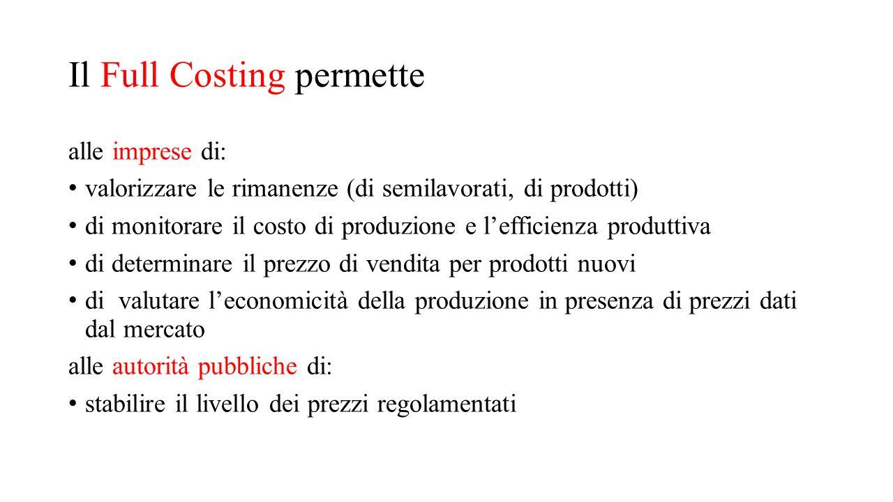 Il Full Costing permette alle imprese di: valorizzare le rimanenze (di semilavorati, di prodotti) di monitorare il costo di produzione e l'efficienza
