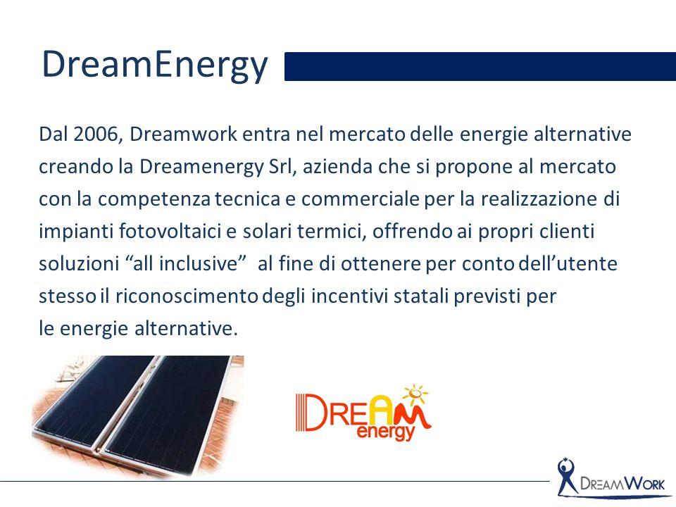 DreamEnergy Dal 2006, Dreamwork entra nel mercato delle energie alternative creando la Dreamenergy Srl, azienda che si propone al mercato con la compe