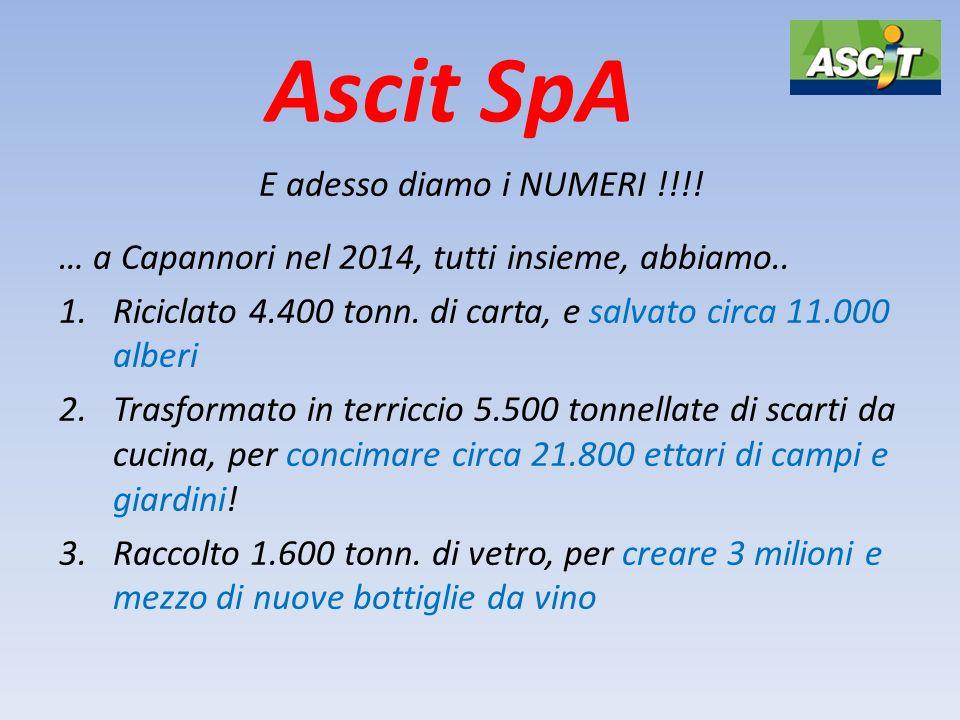 Ascit SpA E adesso diamo i NUMERI !!!! … a Capannori nel 2014, tutti insieme, abbiamo.. 1.Riciclato 4.400 tonn. di carta, e salvato circa 11.000 alber