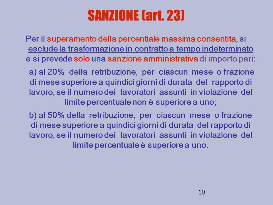 10 SANZIONE (art. 23) Per il superamento della percentiale massima consentita, si esclude la trasformazione in contratto a tempo indeterminato e si pr