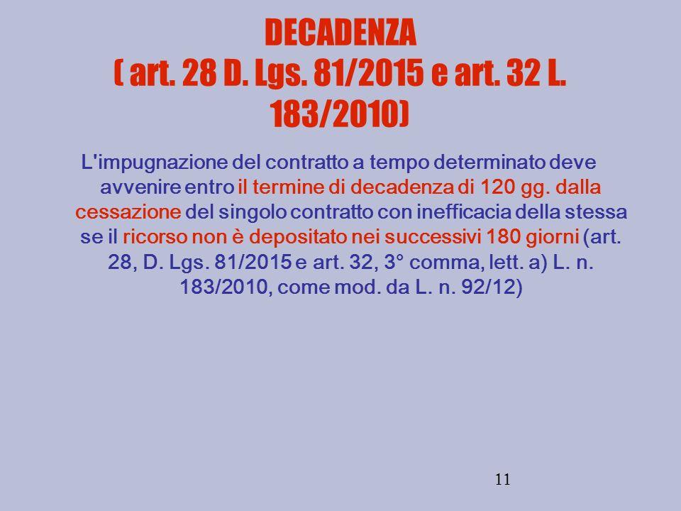 11 DECADENZA ( art. 28 D. Lgs. 81/2015 e art. 32 L. 183/2010) L'impugnazione del contratto a tempo determinato deve avvenire entro il termine di decad