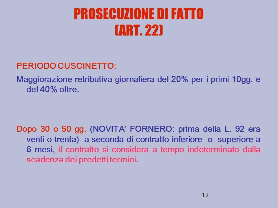 12 PROSECUZIONE DI FATTO (ART. 22) PERIODO CUSCINETTO: Maggiorazione retributiva giornaliera del 20% per i primi 10gg. e del 40% oltre. Dopo 30 o 50 g