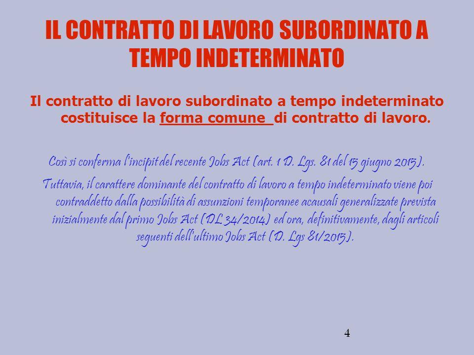 4 IL CONTRATTO DI LAVORO SUBORDINATO A TEMPO INDETERMINATO Il contratto di lavoro subordinato a tempo indeterminato costituisce la forma comune di con