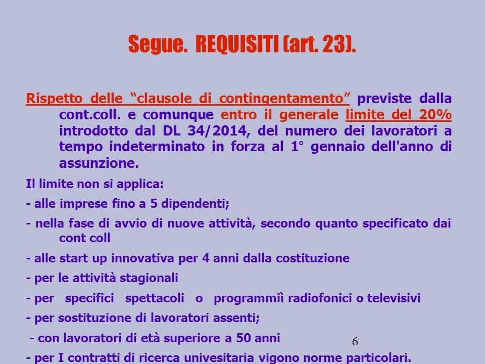 6 Segue.REQUISITI (art. 23).