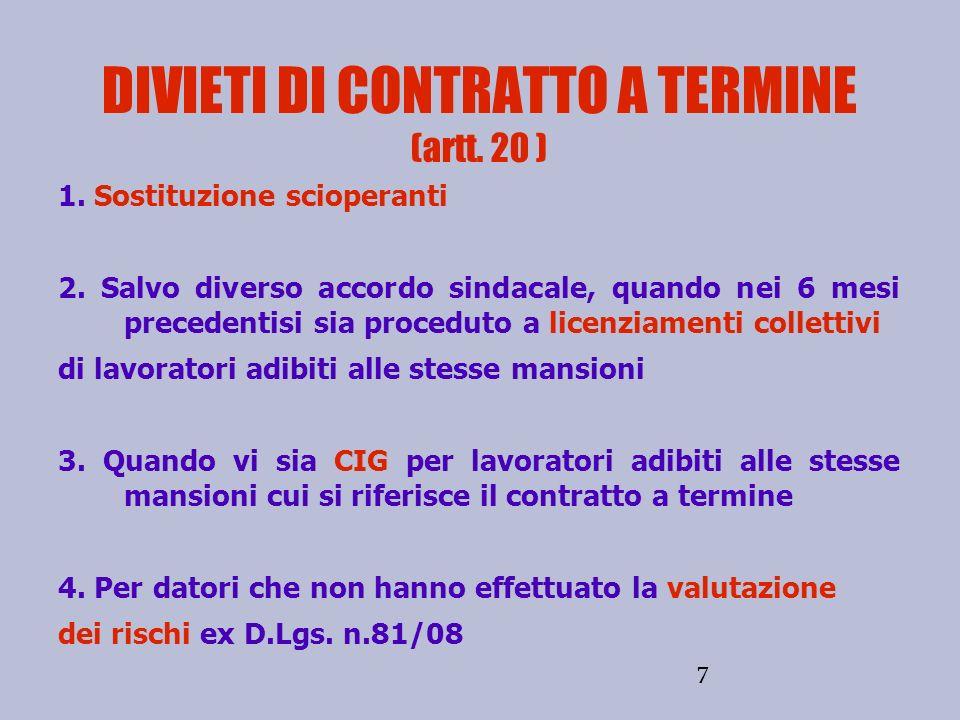 7 DIVIETI DI CONTRATTO A TERMINE (artt. 20 ) 1. Sostituzione scioperanti 2. Salvo diverso accordo sindacale, quando nei 6 mesi precedentisi sia proced
