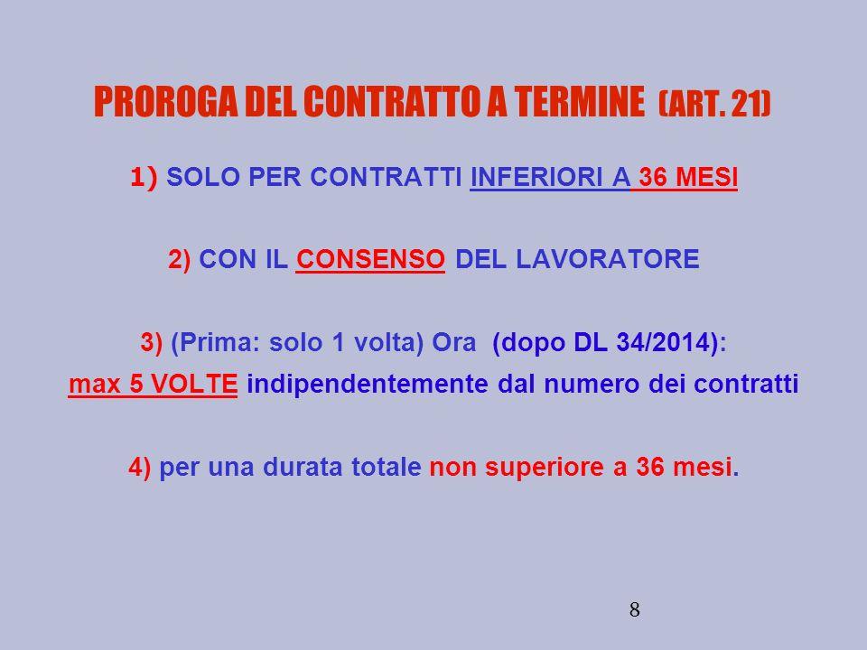 8 PROROGA DEL CONTRATTO A TERMINE (ART. 21) 1) SOLO PER CONTRATTI INFERIORI A 36 MESI 2) CON IL CONSENSO DEL LAVORATORE 3) (Prima: solo 1 volta) Ora (