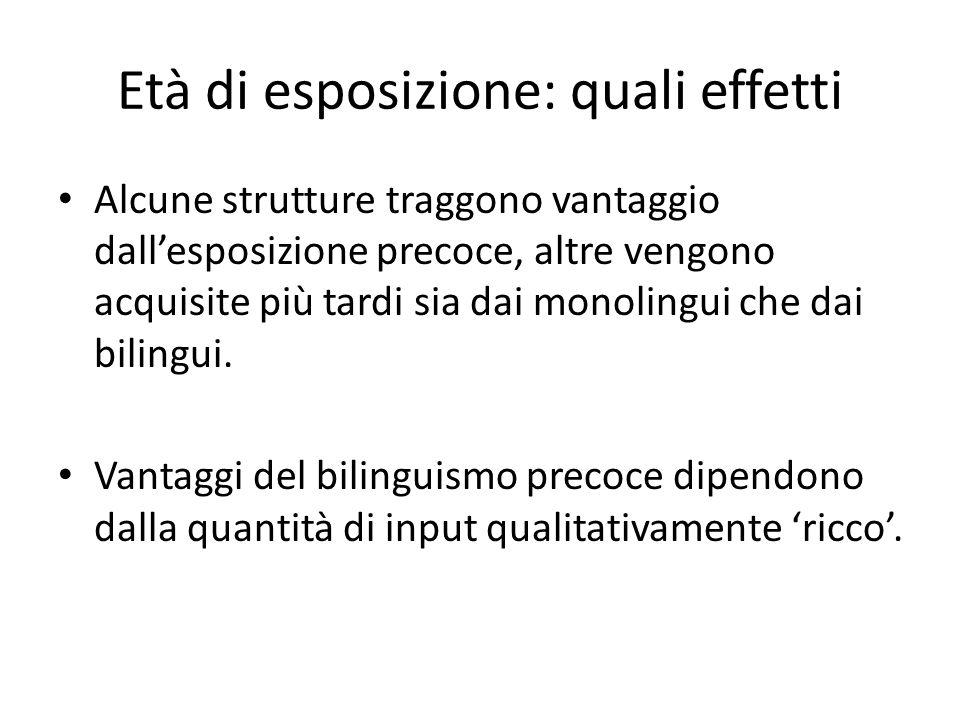 Età di esposizione: quali effetti Alcune strutture traggono vantaggio dall'esposizione precoce, altre vengono acquisite più tardi sia dai monolingui che dai bilingui.