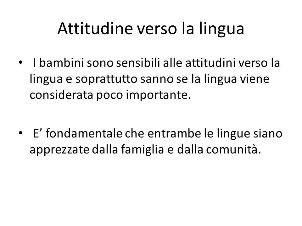 Attitudine verso la lingua I bambini sono sensibili alle attitudini verso la lingua e soprattutto sanno se la lingua viene considerata poco importante
