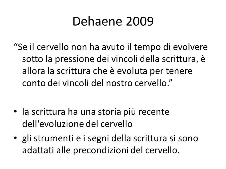 """Dehaene 2009 """"Se il cervello non ha avuto il tempo di evolvere sotto la pressione dei vincoli della scrittura, è allora la scrittura che è evoluta per"""