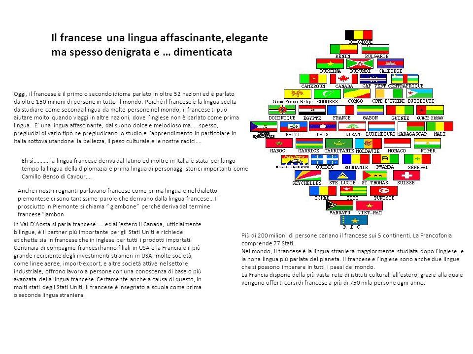 Oggi, il francese è il primo o secondo idioma parlato in oltre 52 nazioni ed è parlato da oltre 150 milioni di persone in tutto il mondo. Poiché il fr