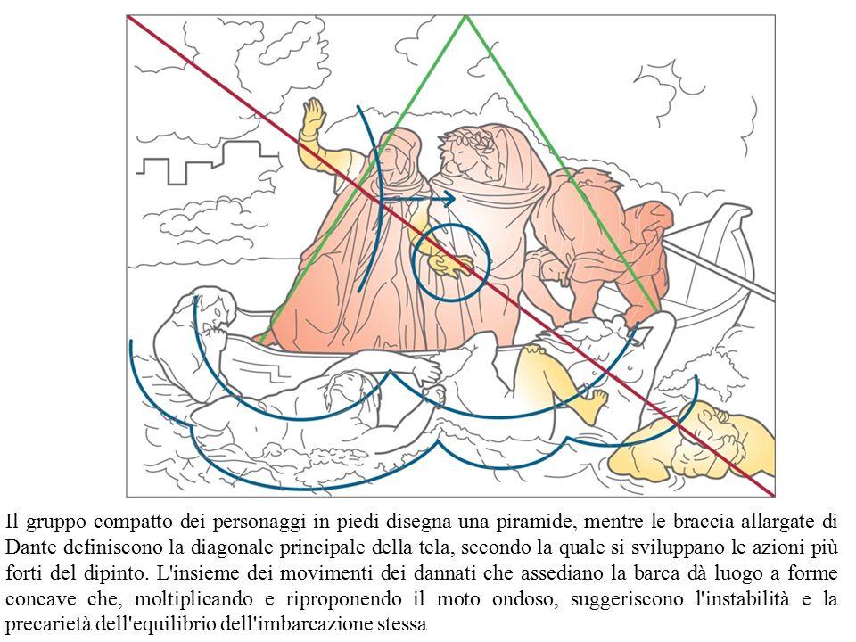 Il gruppo compatto dei personaggi in piedi disegna una piramide, mentre le braccia allargate di Dante definiscono la diagonale principale della tela,