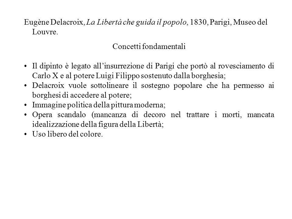 Eugène Delacroix, La Libertà che guida il popolo, 1830, Parigi, Museo del Louvre. Concetti fondamentali Il dipinto è legato all'insurrezione di Parigi