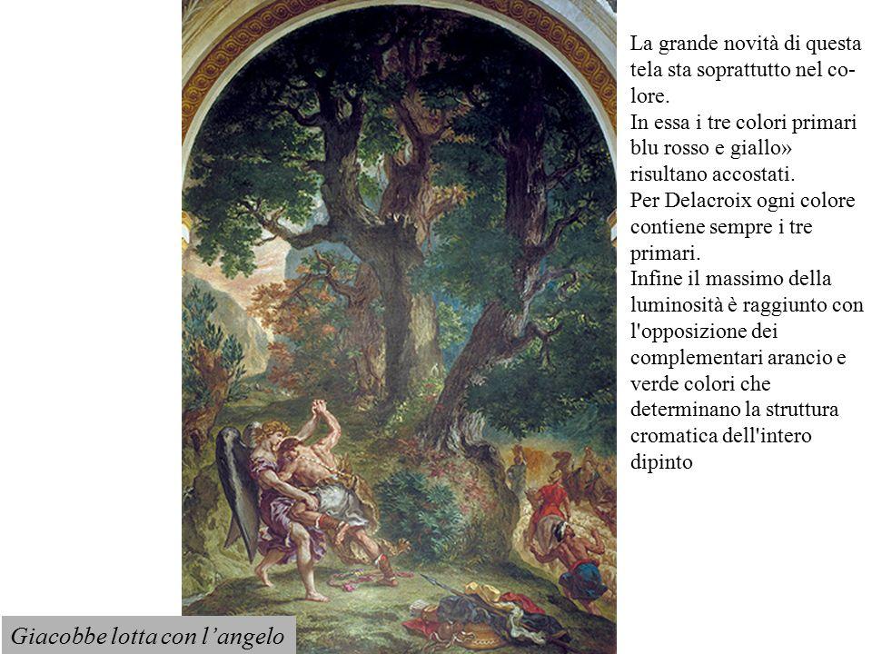 Giacobbe lotta con l'angelo La grande novità di questa tela sta soprattutto nel co lore. In essa i tre colori primari blu rosso e giallo» risultano a