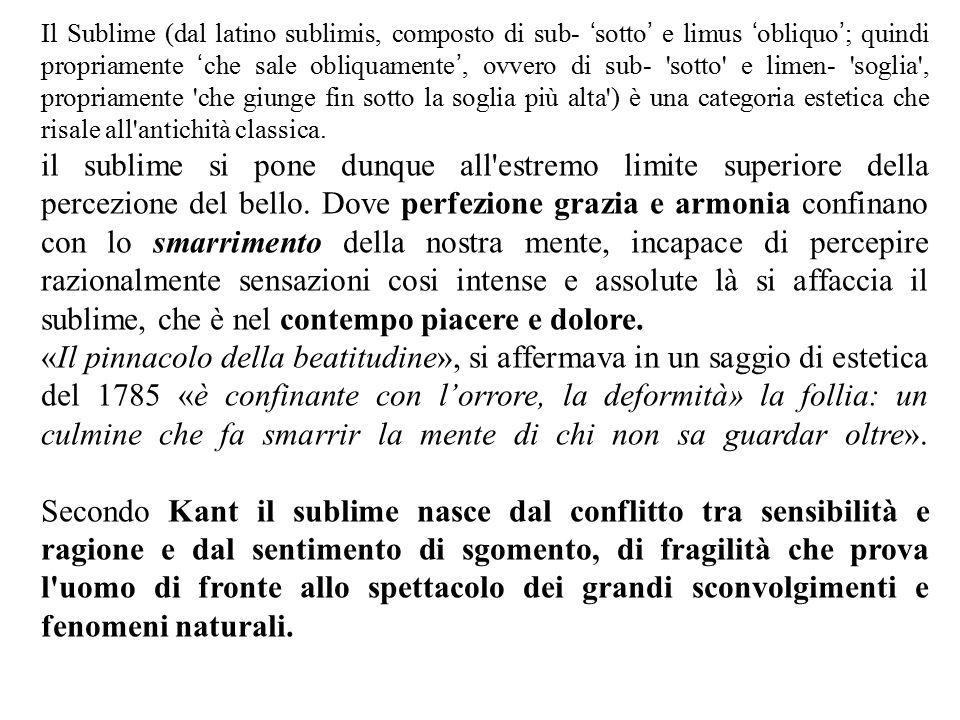 Il Sublime (dal latino sublimis, composto di sub- ' sotto ' e limus ' obliquo ' ; quindi propriamente ' che sale obliquamente ', ovvero di sub- 'sotto